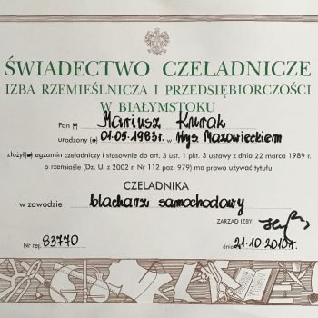 Certyfikat Blacharz samochodowy