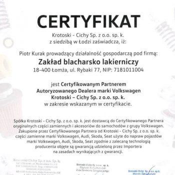 Certyfikat Nora