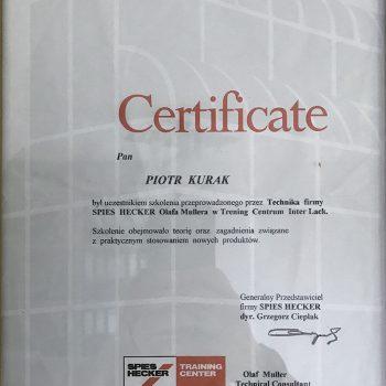 Certyfikat Bazowe lakiery wodne
