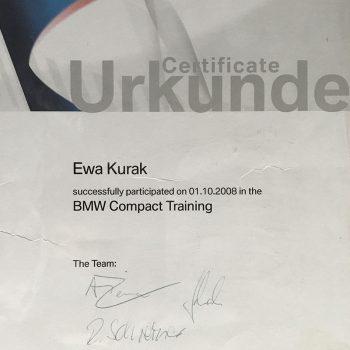 Certyfikat Urkunde Ewa Kurak